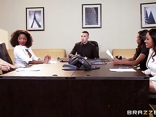 Twosome lucky gentleman gets pleasured by four slutty office ladies