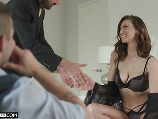 Useless cuckold prefers to see his cheating busty join in matrimony Bella Rolland riding dick