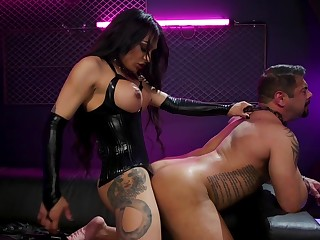 TS domme owns a man and fucks his ass hard and abysm