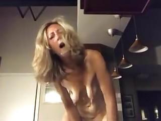 Saggy tits blonde mature masturbates