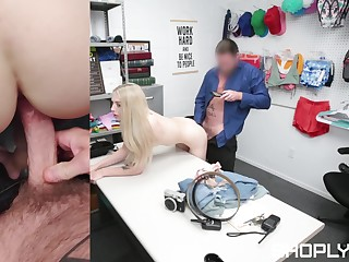 Petite shop lifter gets say no to pussy skint hard by the security chief