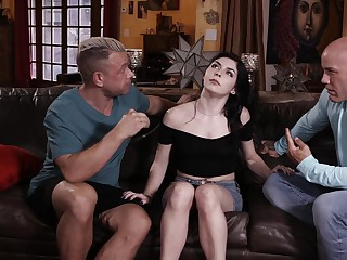 Cute chick Keira Croft moans while getting spit-roasted readily obtainable home