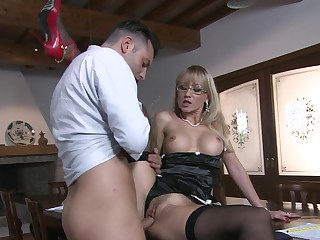 Appealing mistress fucks with approvingly younger dude