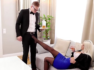 Lady boss Blanche Bradburry seduces young waiter with broad in the beam weasel words Stanley Johnson